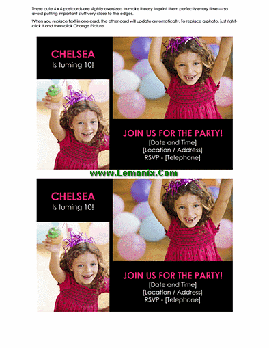 Postcard Template Word For Birthday Party