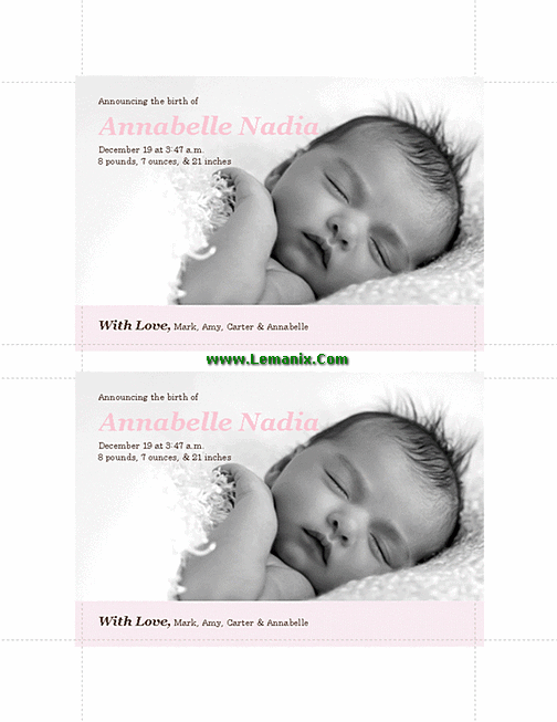 Pinky Birth Announcements Microsoft Publisher Templates