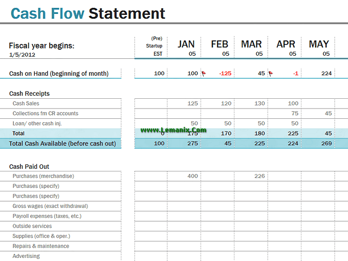 Cash Flow Statement Microsoft Excel Templates