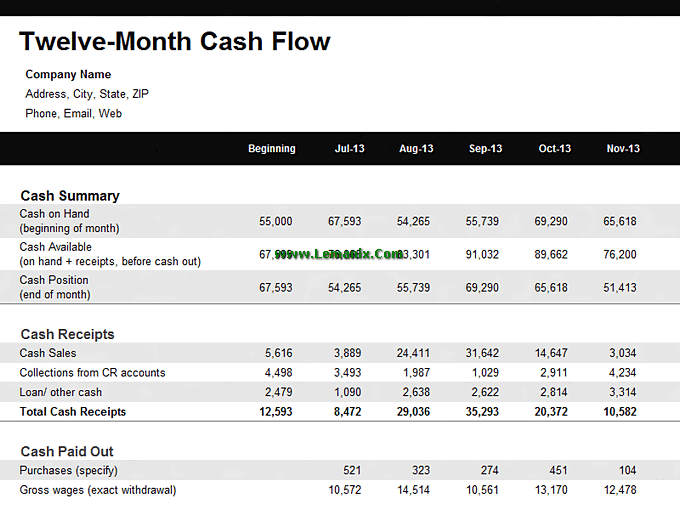 Microsoft Excel Templates For 12 Month Cash Flow Statement