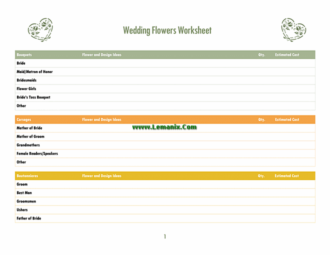 Wedding Program Template Word In Flowers Design