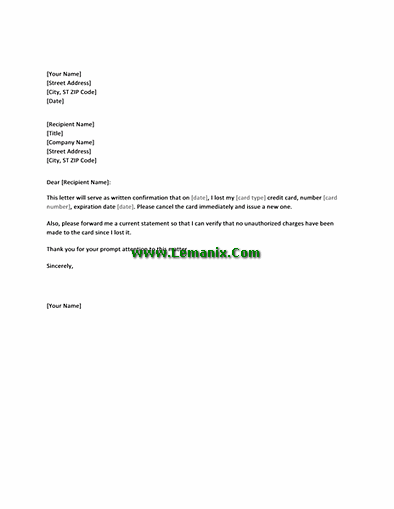 Letter Templates In Confirming Lost Credit Card