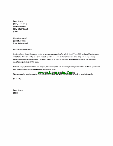 Letter Templates To Reject Job Candidate Applicants