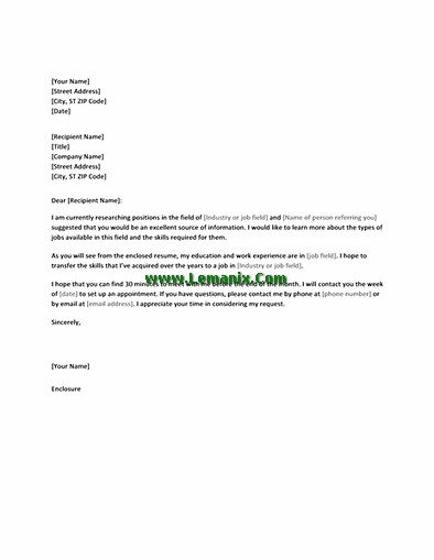 Informational Interview Letter Request Templates