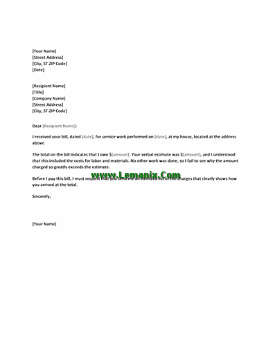 Letter Templates In Requesting Charges For Services
