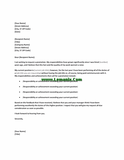 Letter Templates In Requesting Promotion To Work At Higher Position