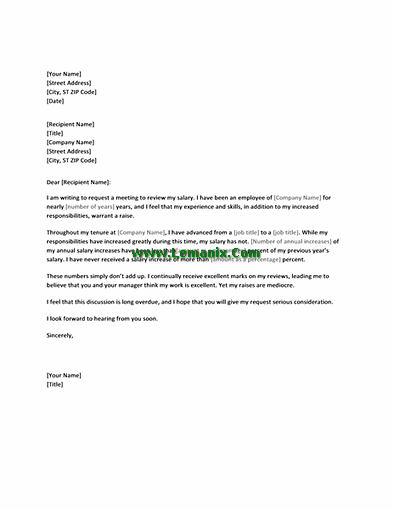 Letter Templates In Requesting Salary Increasement