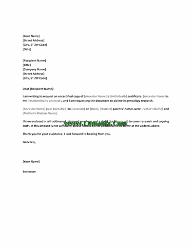 Letter Templates In Requesting Copy Of Birth Or Death Certificates