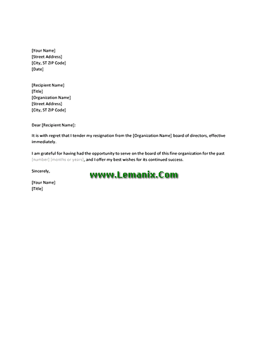 Letter Templates Of Resignation From Board