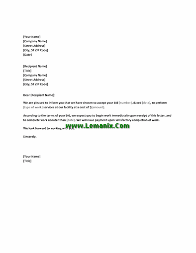 Letter Templates For Accepting Bid