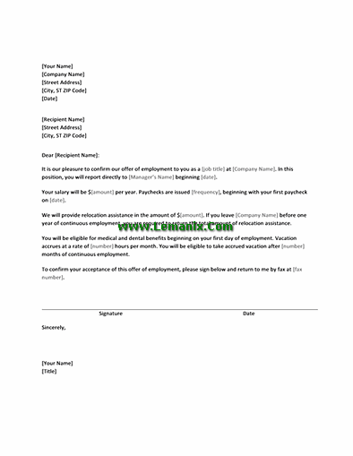 Job Offer Letter Templates With Relocation Assistance