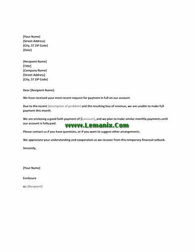 Letter Templates In Proposing Payment Plan To Creditor