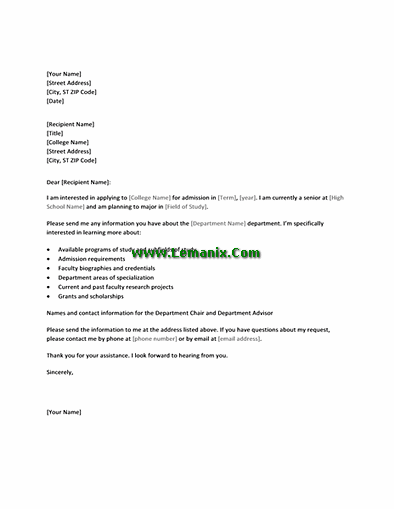 Letter Templates To College In Requesting Academic Information