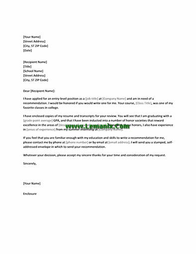 Letter Templates For Requesting Job Recommendation From Professor