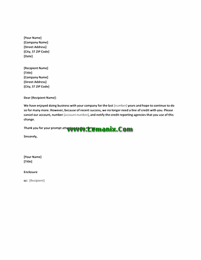 Letter Templates For Canceling Credit Account