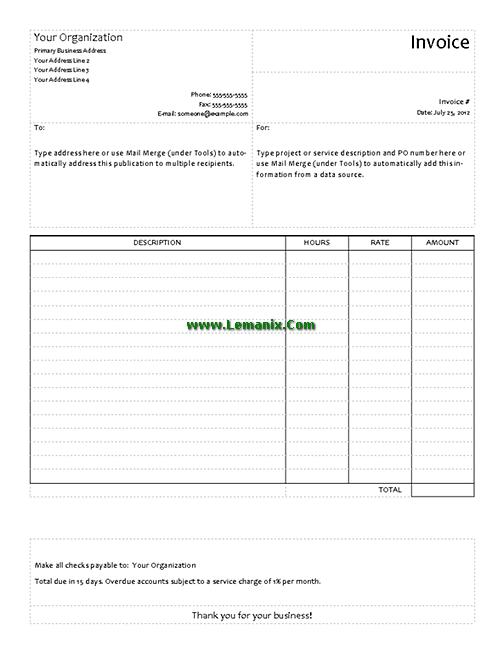 Publisher Templates Service Invoice