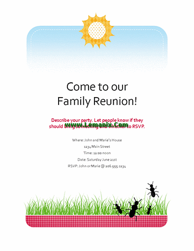 Family Reunion Flyer Microsoft Publisher Templates