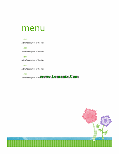 party menu microsoft publisher templates for publisher