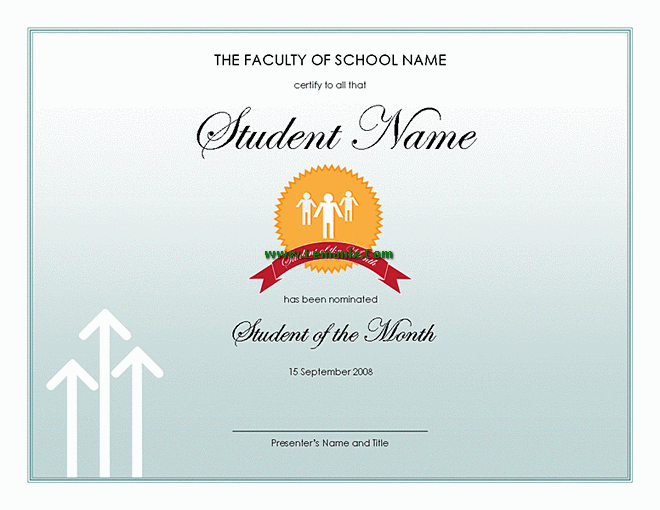 Student Of The Month Award Microsoft Publisher Templates