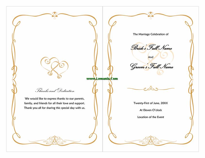 Wedding Program Template Word Love And Heart Design