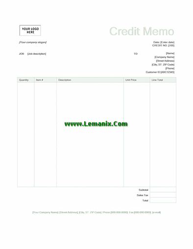 Green Credit Memo Template Word