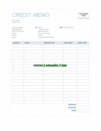 Credit Memo Template Word In Blue Design