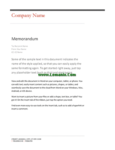 Business Company Memo Template Word