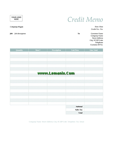 Credit Memo Template Word In Simple Blue Theme