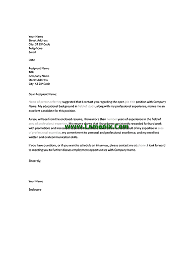 Resume Cover Letter Templates When Referred