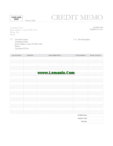 Credit Memo Template Word In Professional Gray Background