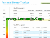 Personal Money Tracker Microsoft Excel Templates