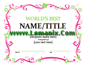 World's Best Certificate Microsoft Publisher Templates