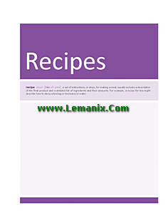 Free Recipe Cookbook For Microsoft Publisher Templates