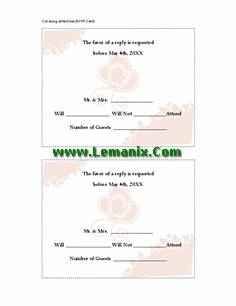 Bridal Shower Response Cards Publisher Templates