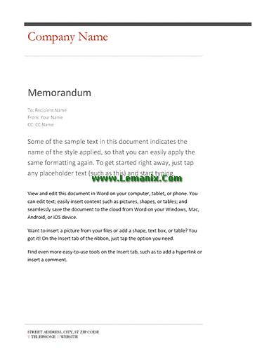 memo format word 2013