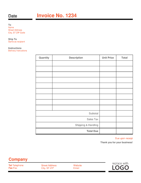 Business Sales Invoice Template In Black Line Border