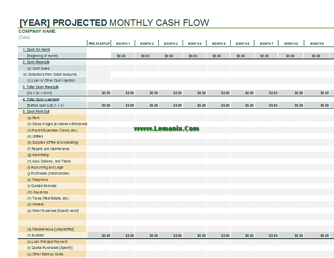 cash flow projection excel