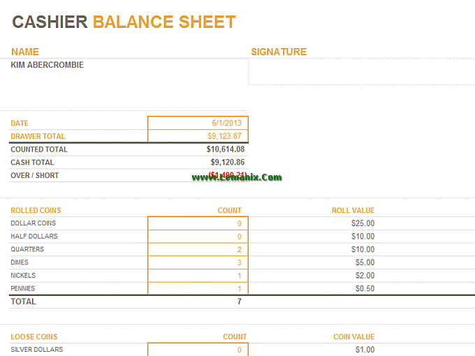cashier balance sheet microsoft excel templates for excel 2013 or