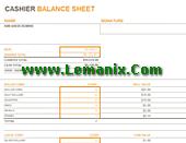 Cashier Balance Sheet Microsoft Excel Templates