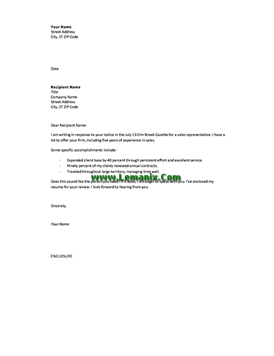 Cover Letter Templates in Response to Advertising Offer for Word