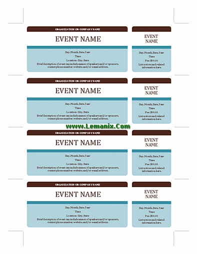 Event tickets microsoft publisher templates for publisher for Event program template publisher