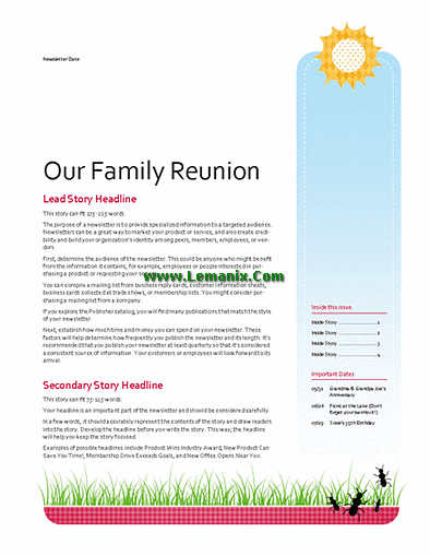 family reunion newsletter publisher templates for