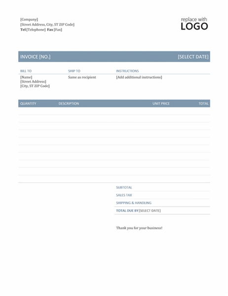 business sales invoice template in black line border for word 2013