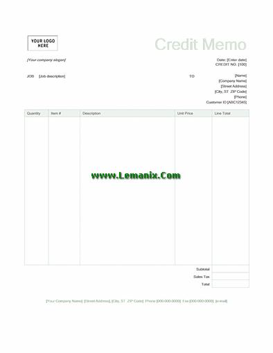 Green Credit Memo Template Word