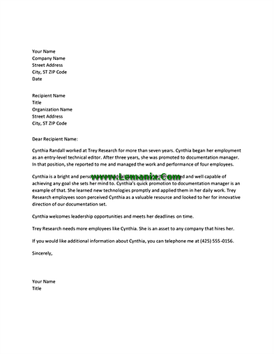 Managerial employee reference letter templates for word for Microsoft office letter of recommendation template