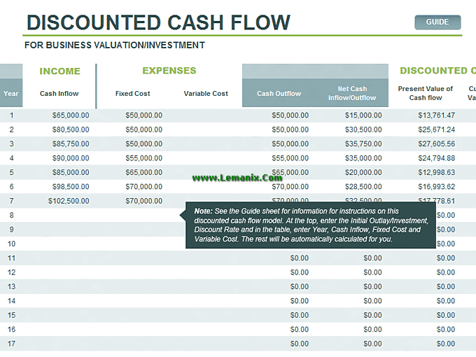 microsoft excel templates for discounted cash flow model for excel