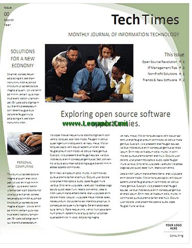 Newsletter For Microsoft Publisher Templates