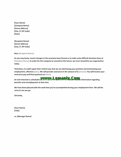 Notification Letter Templates to Employee of Layoff for Word 2013 or
