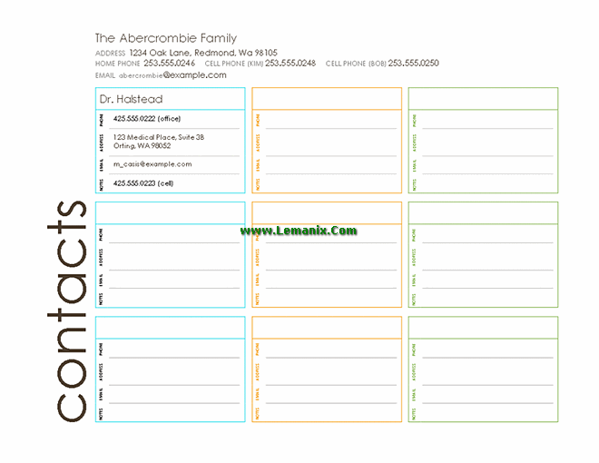 Publisher Templates Multi Colored Family Contact List  Contact List Templates