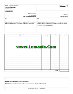 Publisher Templates Service Invoice
